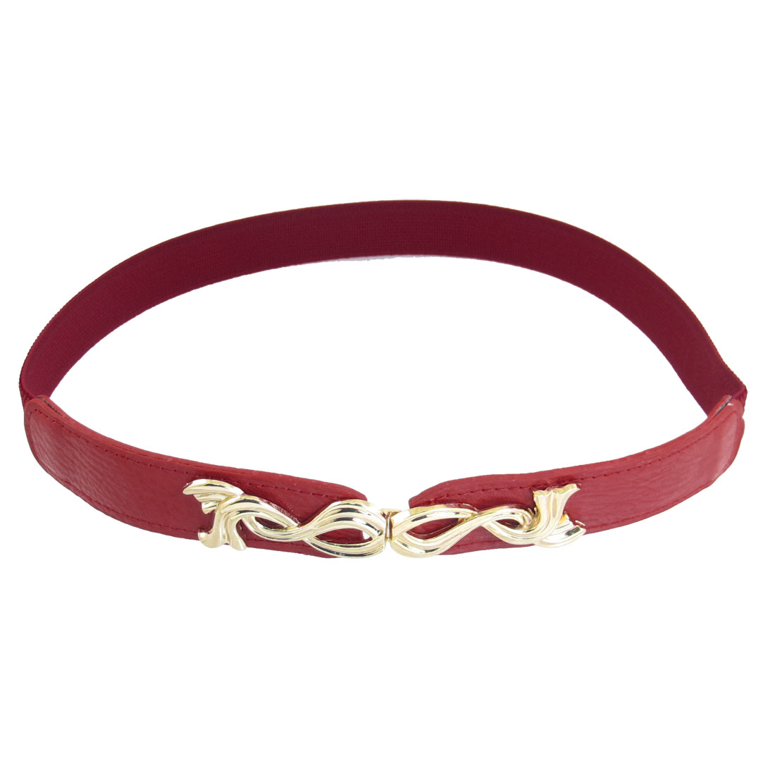 Gold Tone Double Fish Interlock Buckle Stretchy High Waist Belt Red for Woman