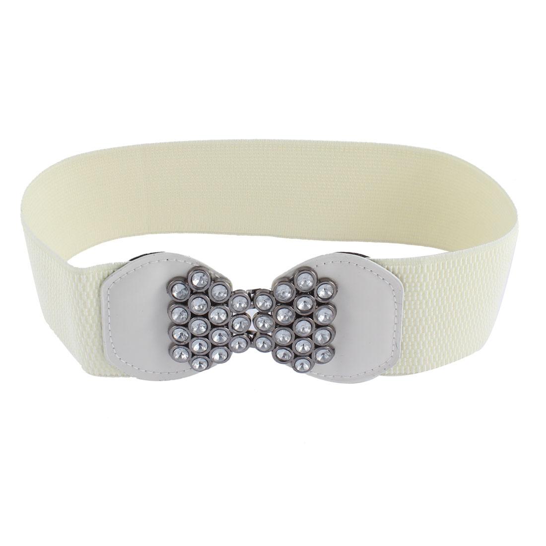 6cm Interlocking Buckle Rhinestone Accent Stretchy Waist Belt White