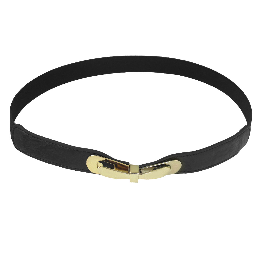 Metal Bowknot Interlocking Buckle Textured Stretch Belt Black for Women Ladies