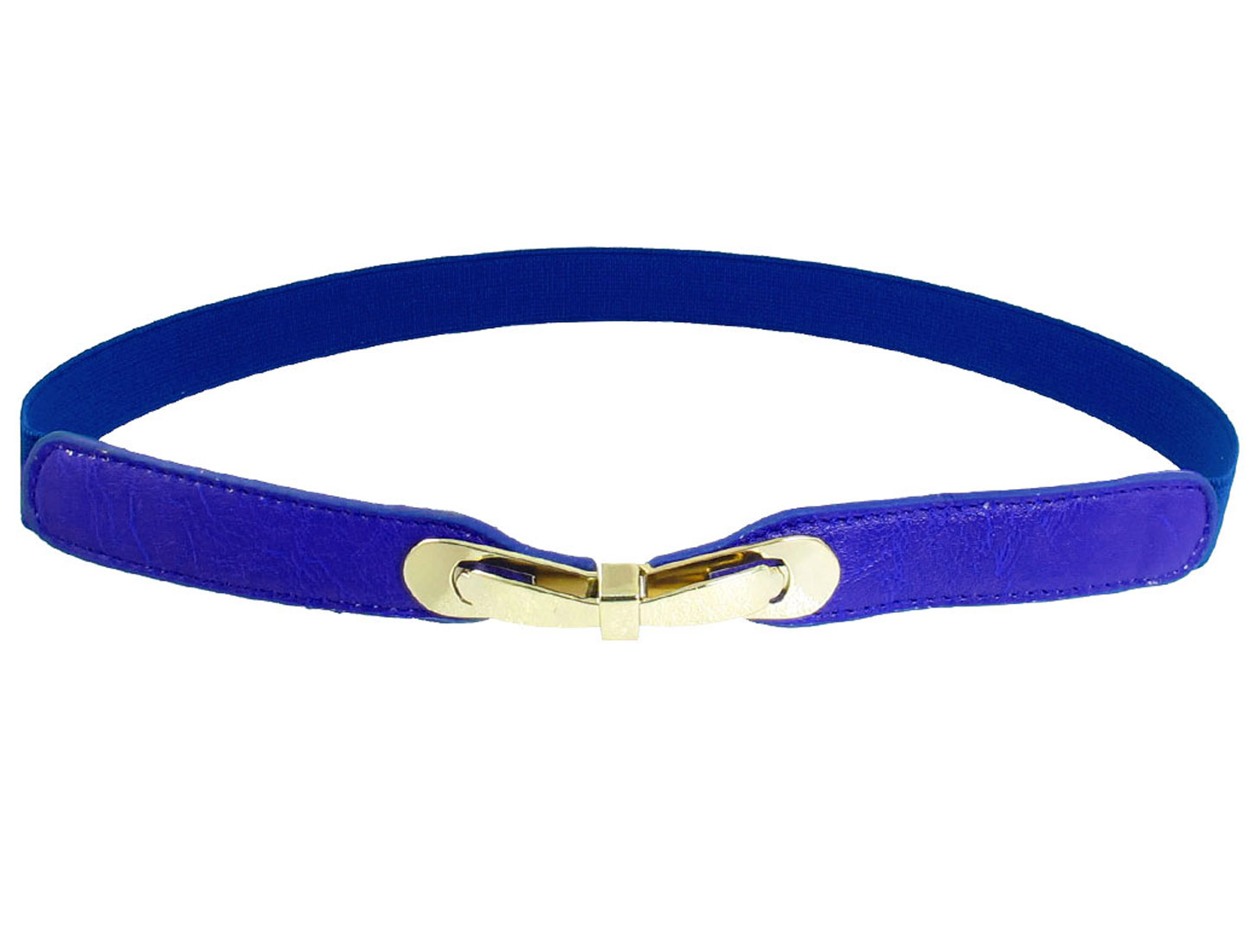 Women Ladies Metal Bowknot Interlocking Buckle Textured Stretchy Belt Blue