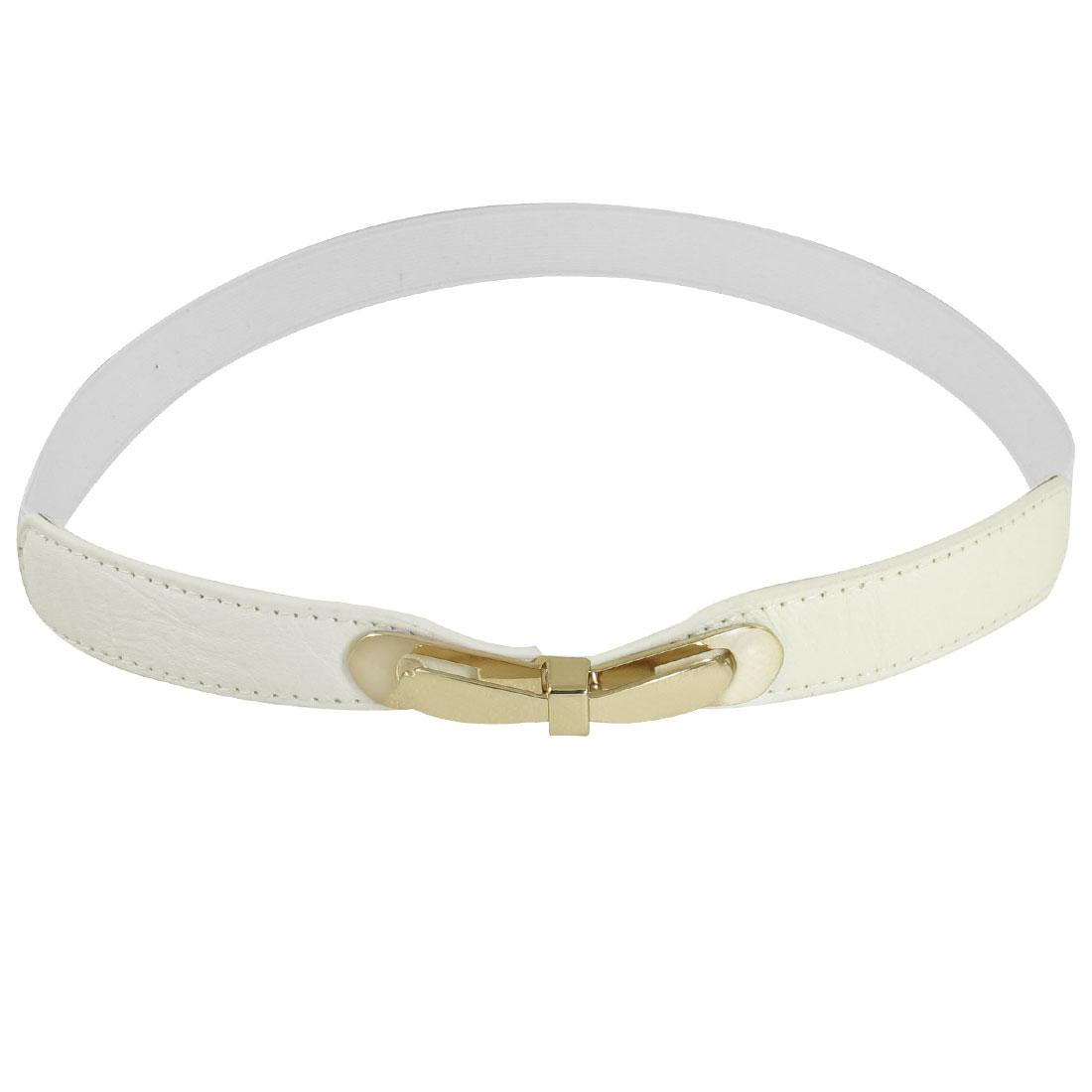 Metal Bowknot Interlocking Buckle Textured Stretch Belt White for Women Ladies