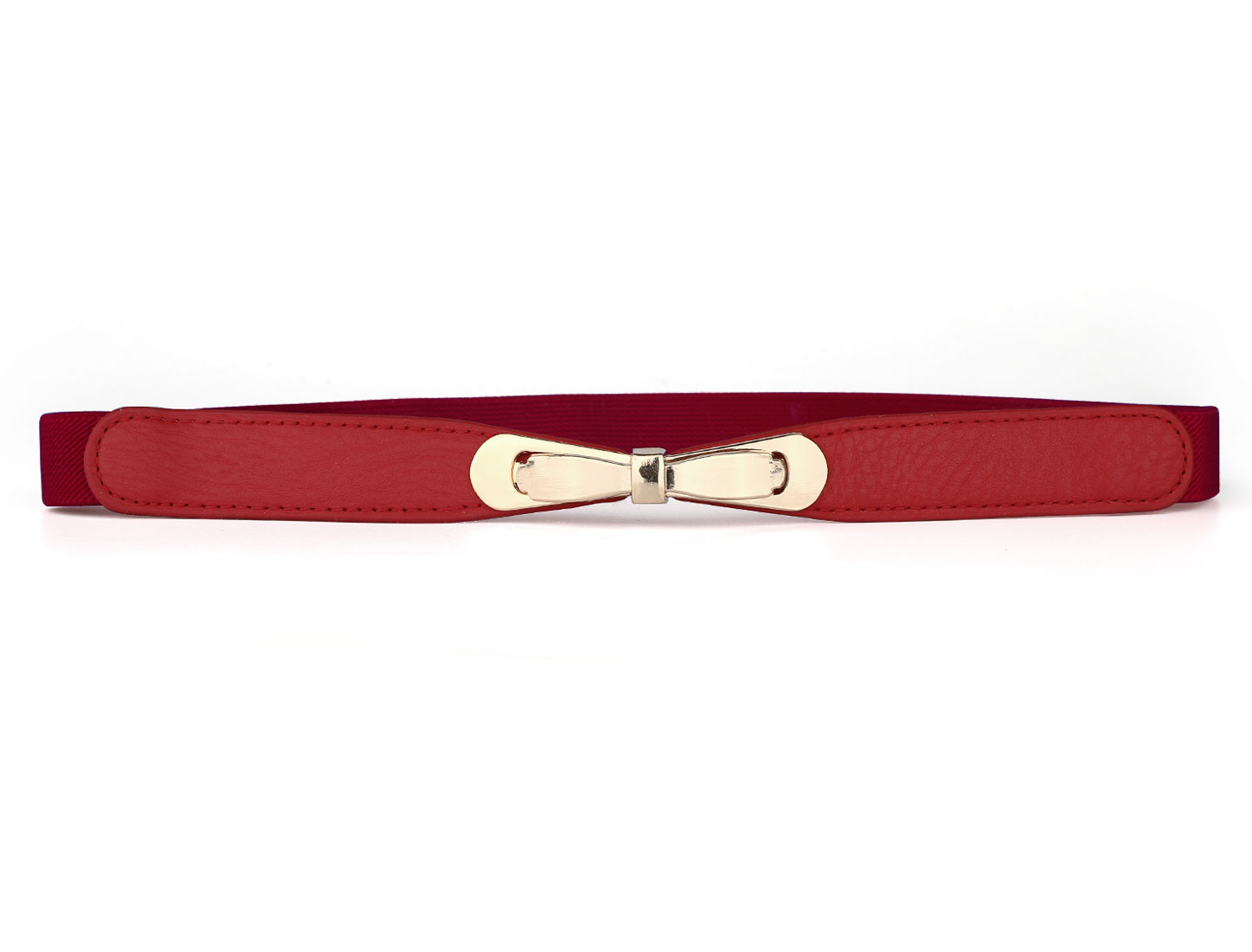 Ladies Bowknot Metal Interlocking Buckle Red 2cm Wide Elastic Band Belt