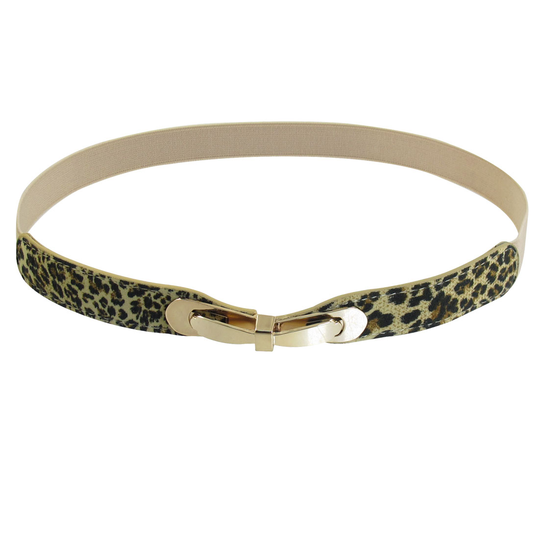 Gray Metal Interlocking Buckle Leopard Elastic Slim Cinch Waist Belt