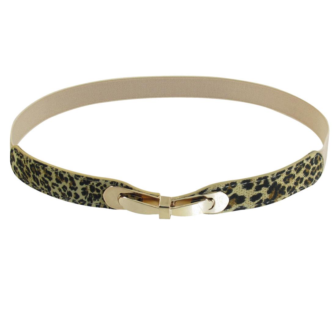 Gray Metal Interlocking Buckle Leopard Elastic Slim Cinch Waist Belt