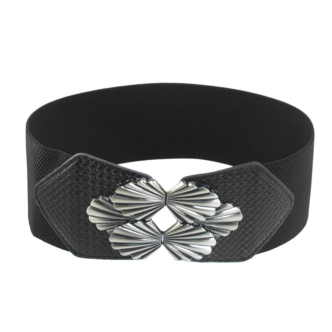 Ladies Women Metal Interlocking Buckle Black 7.5cm Width Stretchy Belt