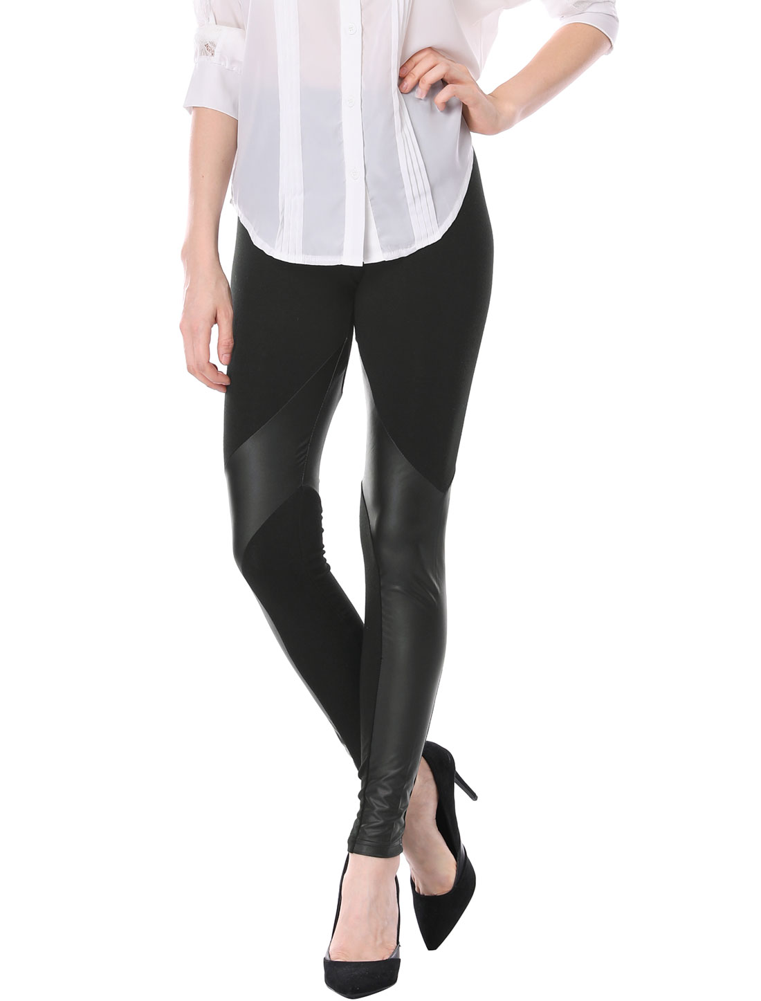 Lady Black Elastic Waist Faux Leather Splice Design Stretch Skinny Slim Leggings L