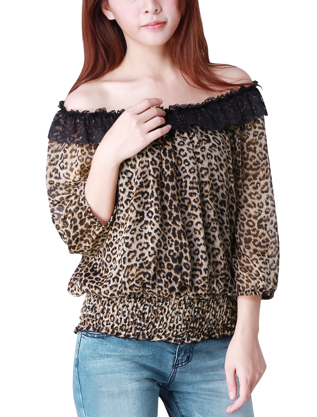Lady Beige Off Shoulder Lace Neckline Leopard Prints Chiffon Top Blouse L