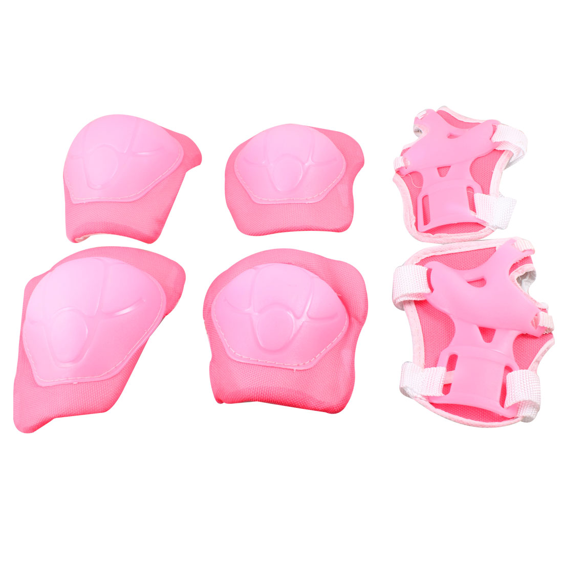 Kids Bike Skateboard Hoop Loop Fastener Pink White Knee Elbow Wrist Pads Protectors 3 Pairs
