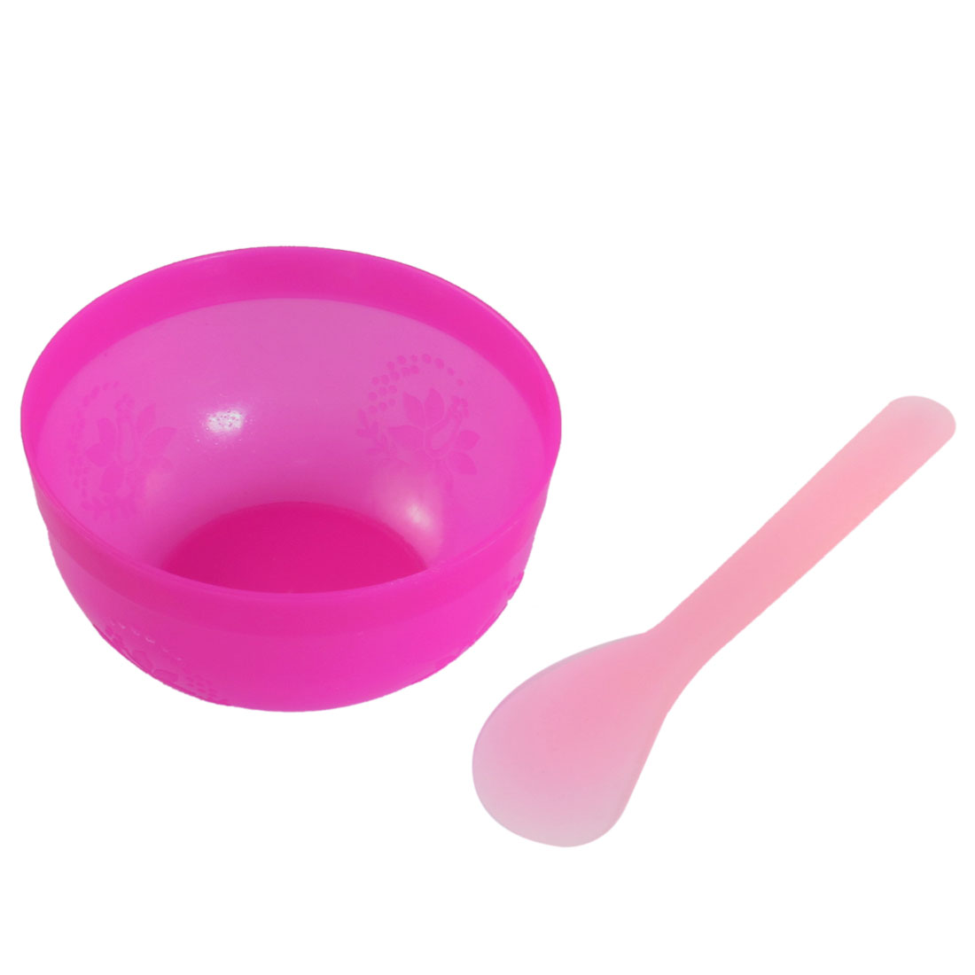 Lady Fuchsia Floral Pattern Plastic Mask Bowl + Pink Stick Cosmetic Tool
