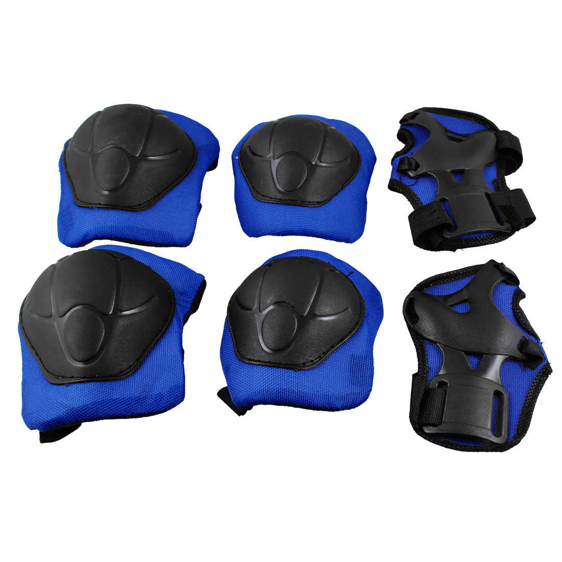 Kids Biking Skating Skateboard Gear Knee Elbow Pads Wrist Protector Blue Black 3 in 1