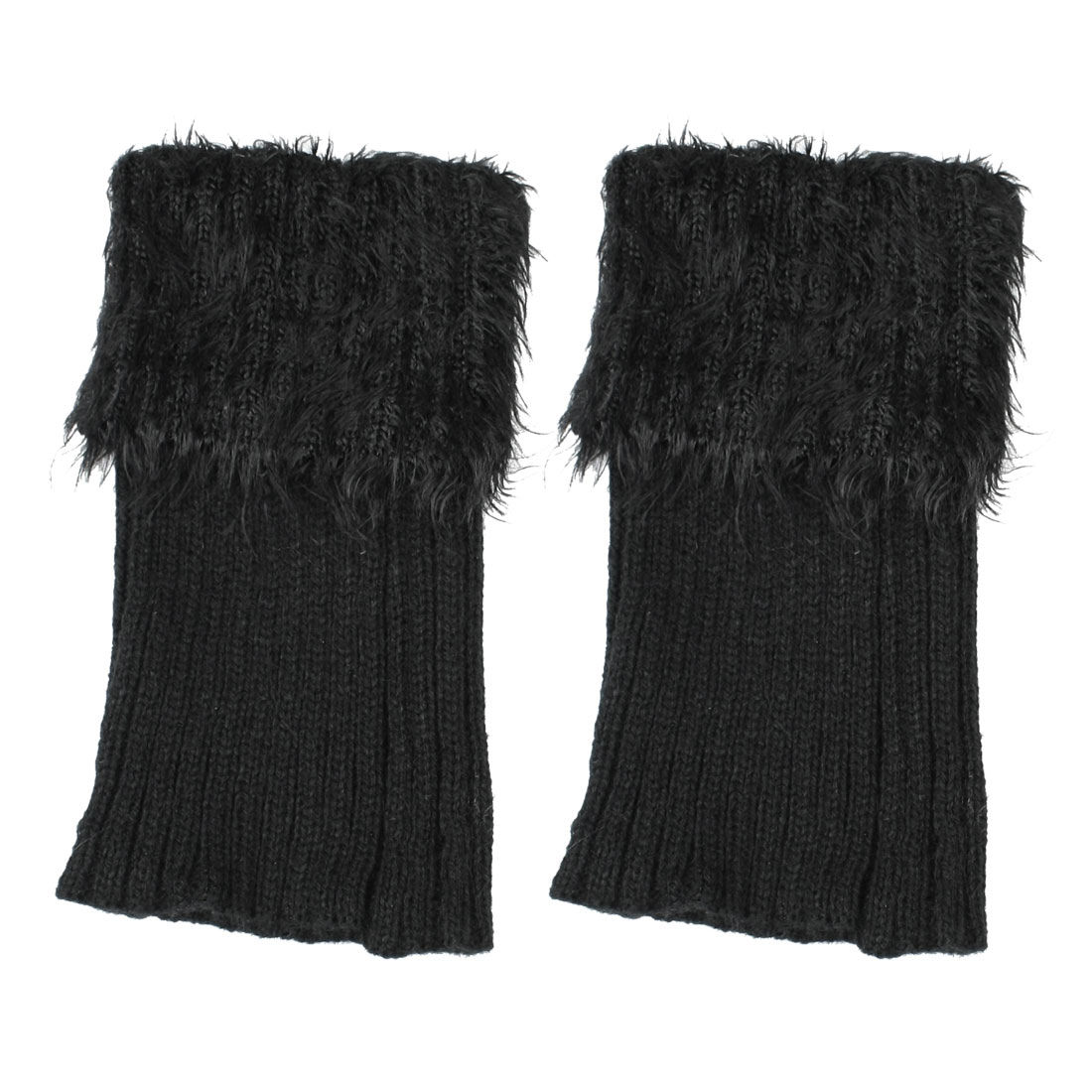 "Women Lady Black Faux Fur Top Stretch Ankle Lower Leg Warmers Pair 6.7"" Length"
