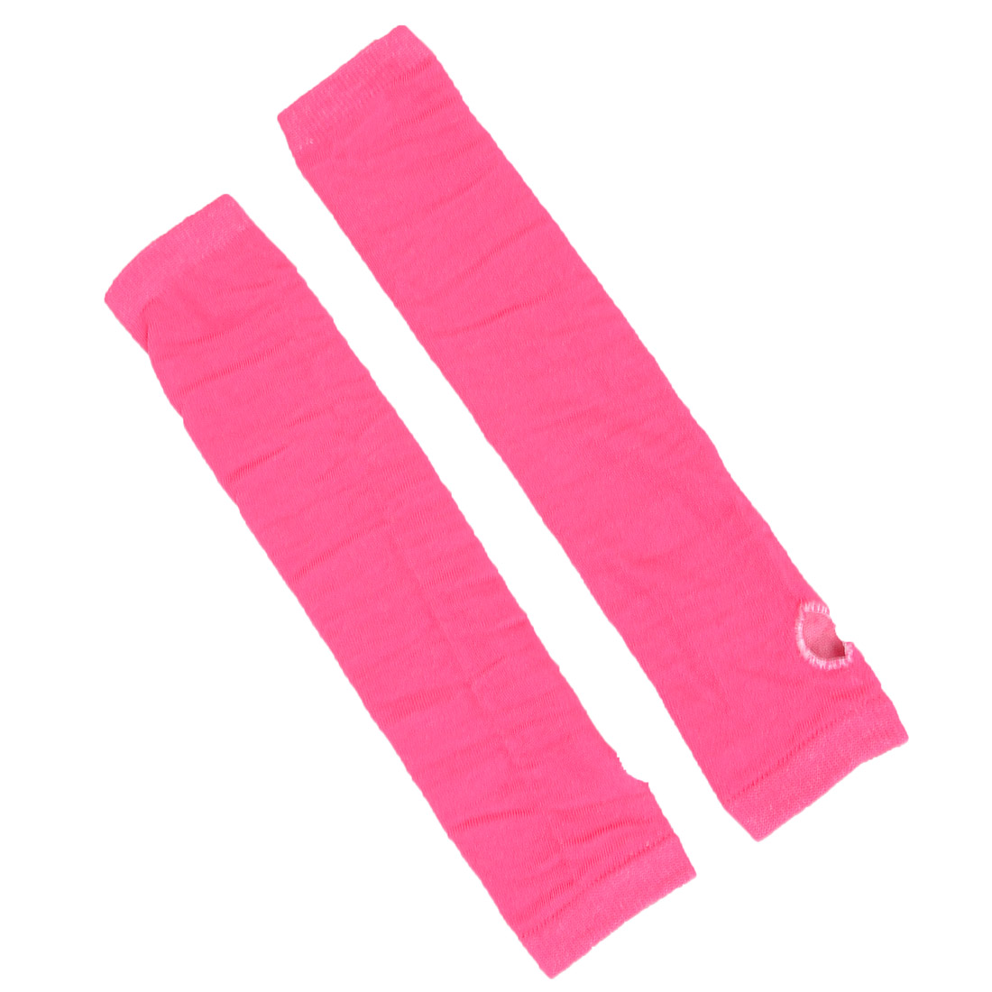 Women Girls Pair Elastic Thumbless Fingerless Arm Warmers Gloves Shocking Pink