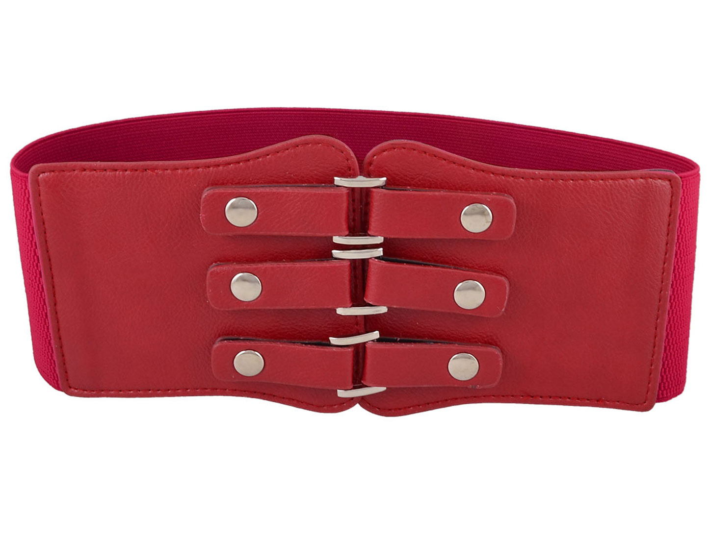 "Lady Press Button Closure Faux Leather Elastic Band Belt 27"" Length Red"