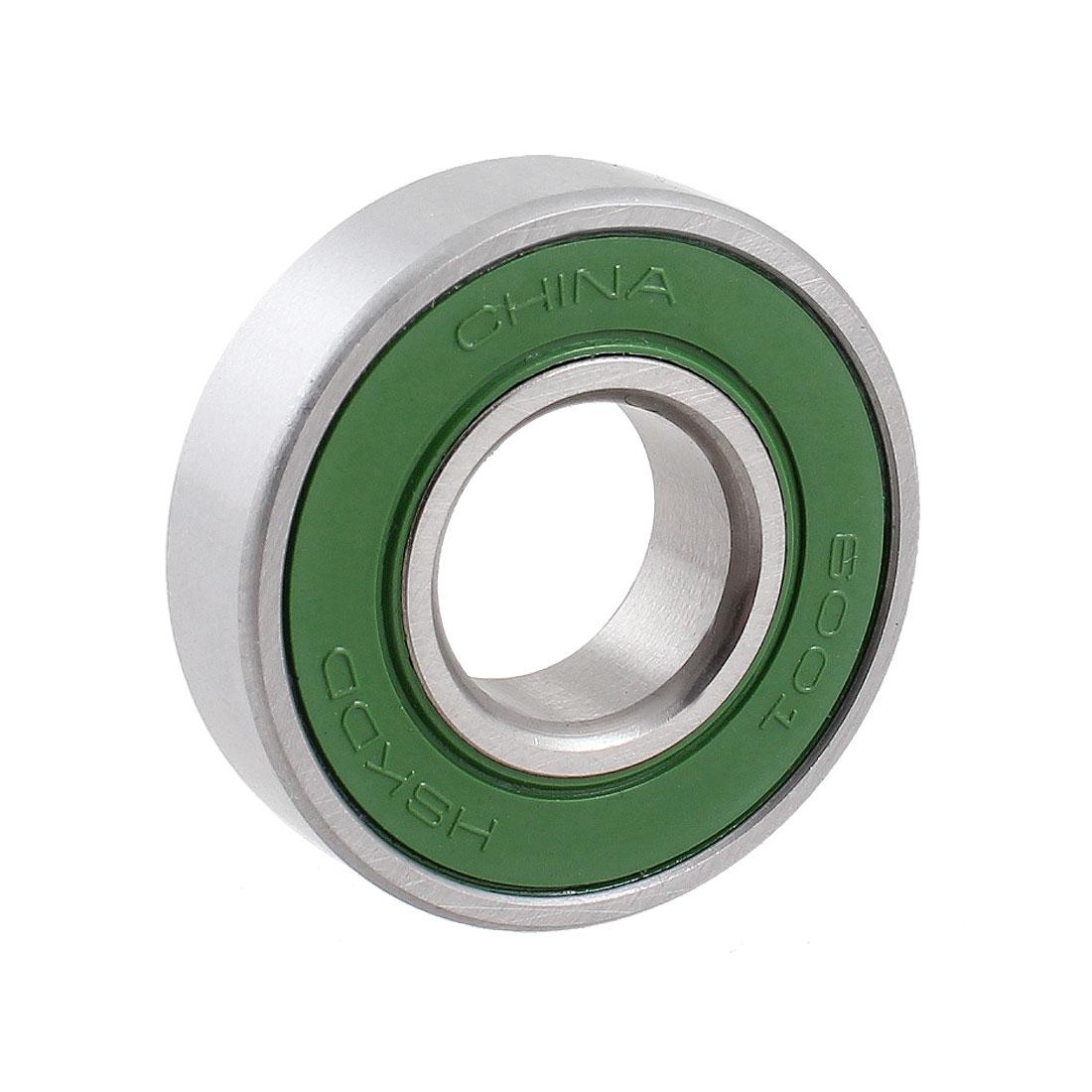 12mm x 28mm x 8mm Ball Wheel Bearings Silver Tone Green 6001