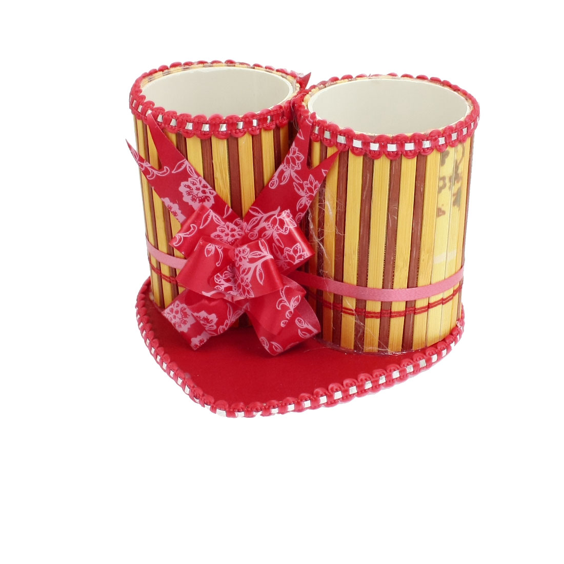 Red Heart Shape Base Bowknot Decor Double Cylinder Design Bamboo Pen Holder