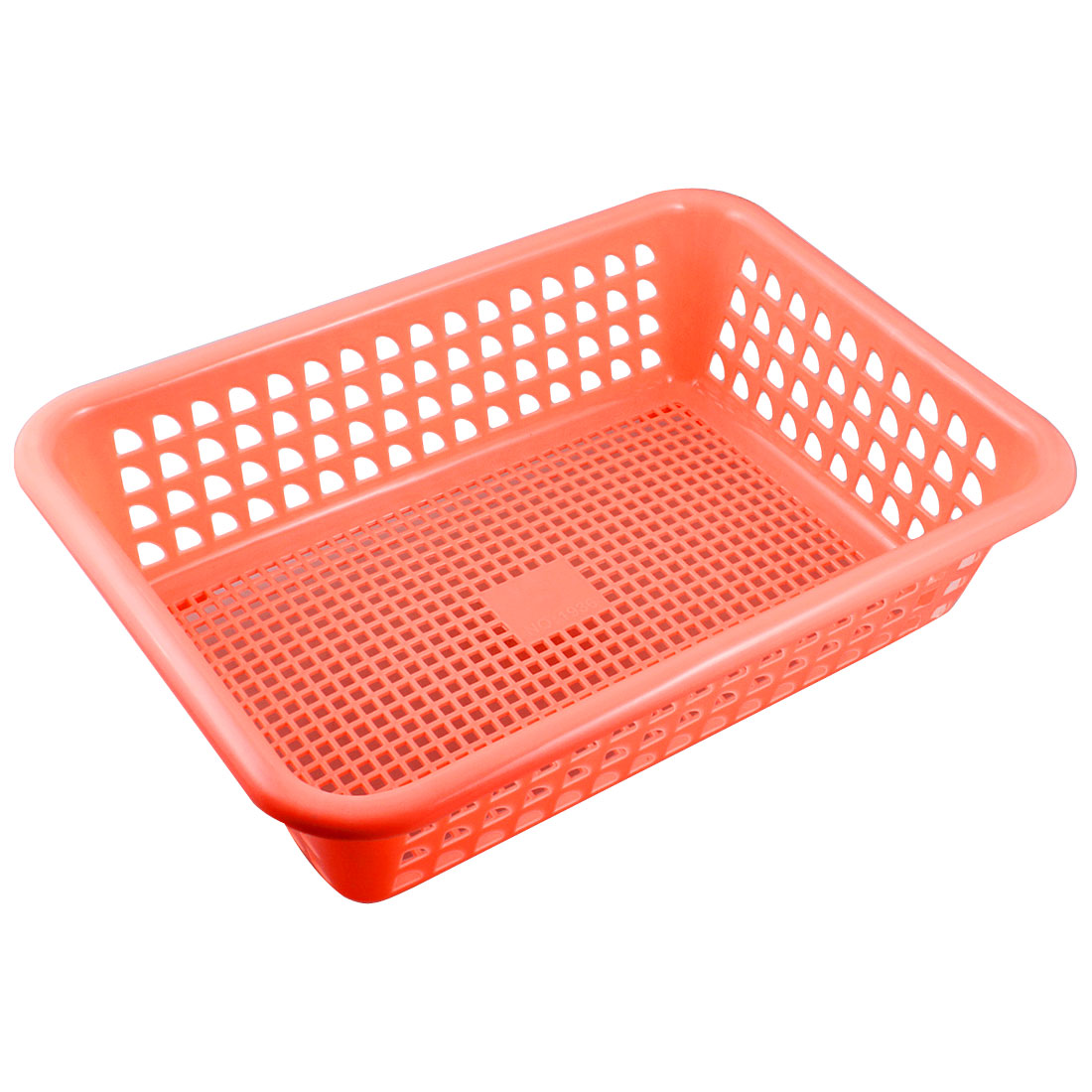 Home Kitchen Salmon Pink Plastic Perforated Gridded Fruit Basket 31cm x 22cm