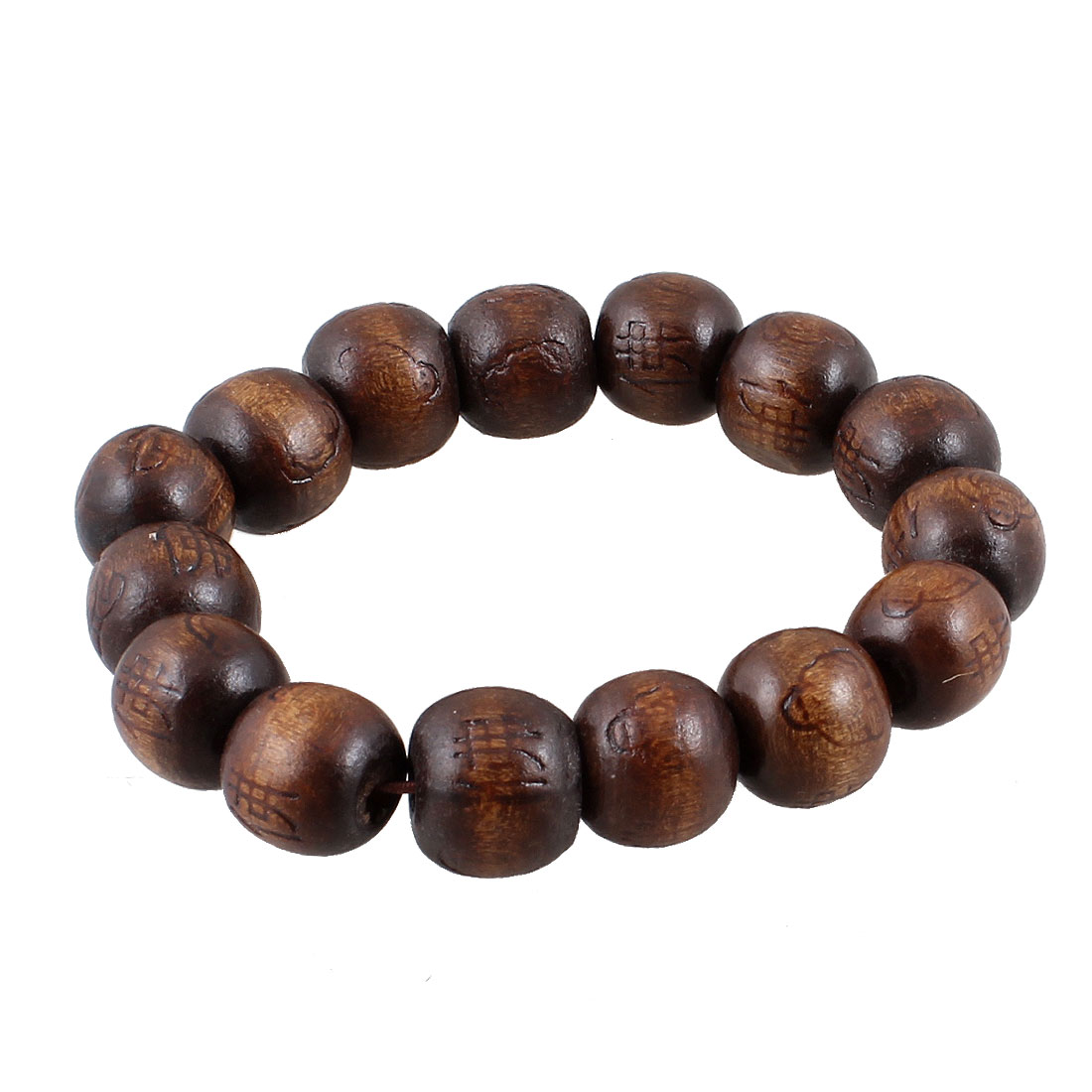 Carved Buddha Character 15 Round Beads Elastic Wrist Bracelet Brown