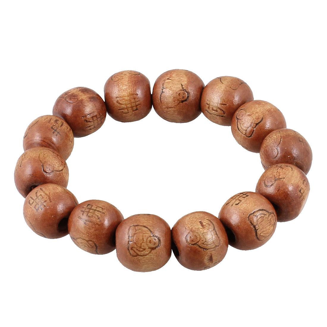 Buddha Character Pattern 14 Round Beads Coffee Color Elastic Wrist Bracelet