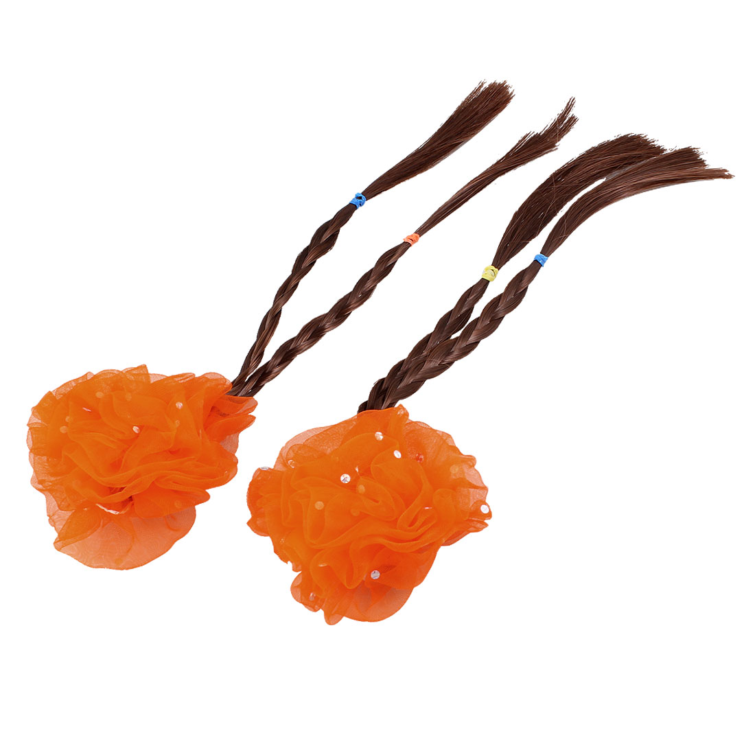 Little Girl 2 Pcs Orange Flower Barrette Hairclip w Braided Faux Hair
