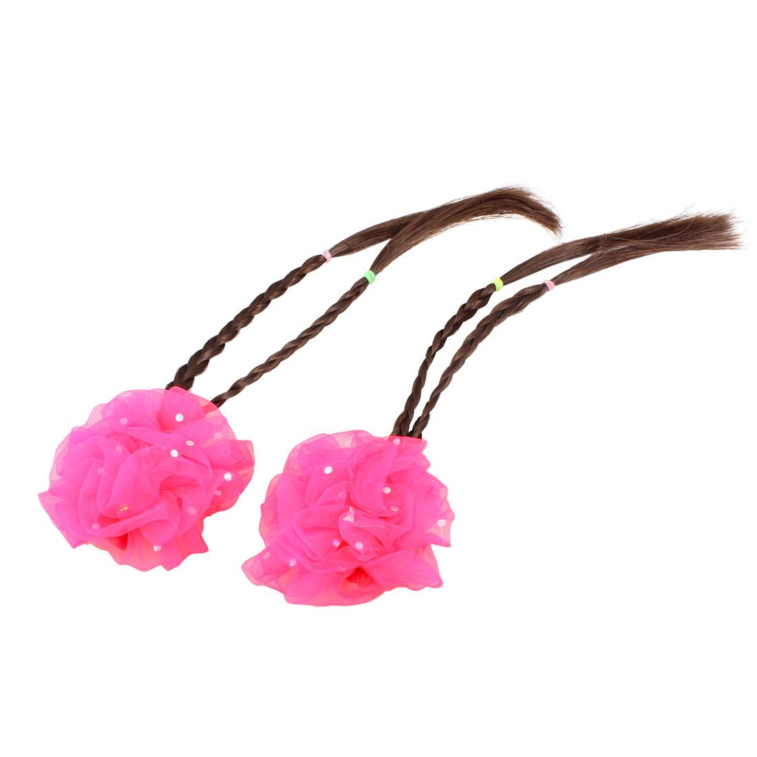 Little Girl 2 Pcs Magenta Flower Barrette Hairclip w Braided Faux Hair