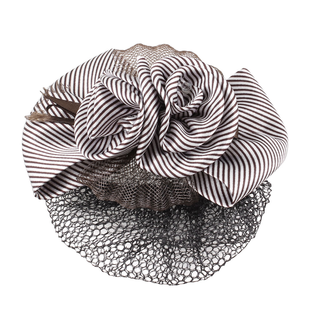 Brown White Striped Flower Bowknot Snood Net Barrette Hair Clip for Ladies