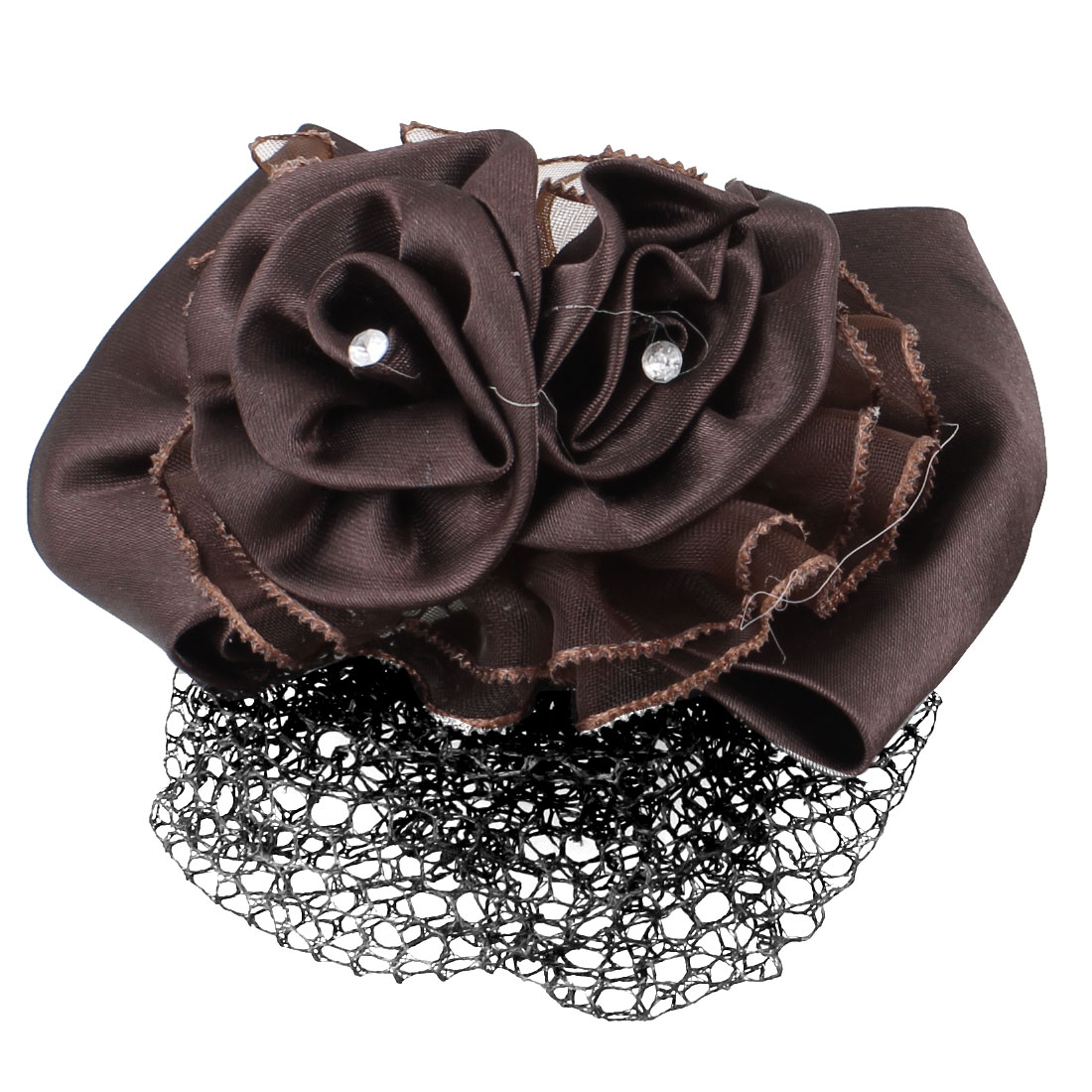 Brown Polyester Flower Bowknot Barrette Hair Clip w Nylon Snood Net