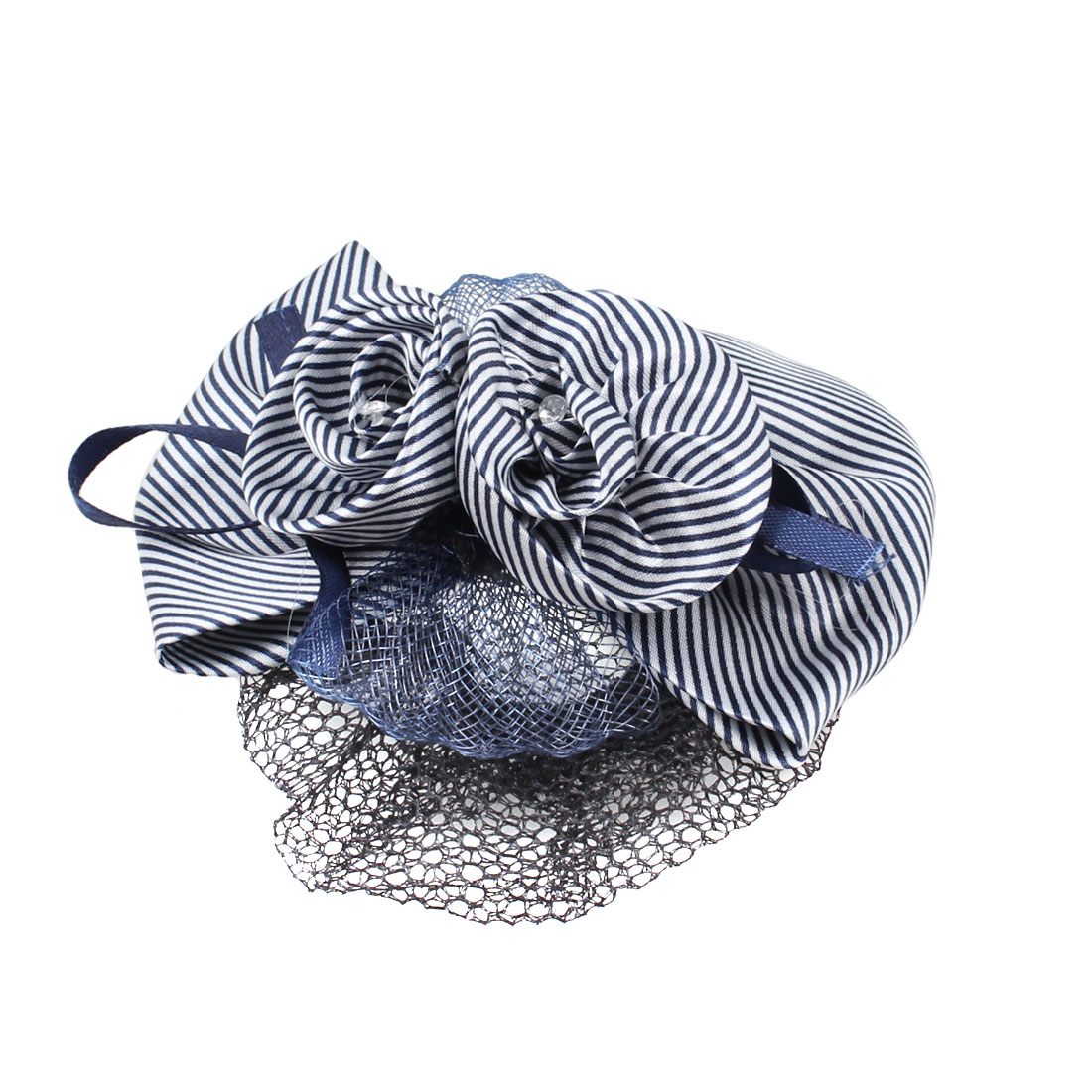 Blue White Striped Flower Bowknot Snood Net Barrette Hair Clip for Ladies
