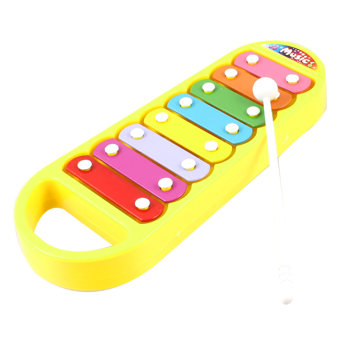 Multicolor Metal Plate Yellow Plastic Xylophone Musical Instrument Toy for Kids