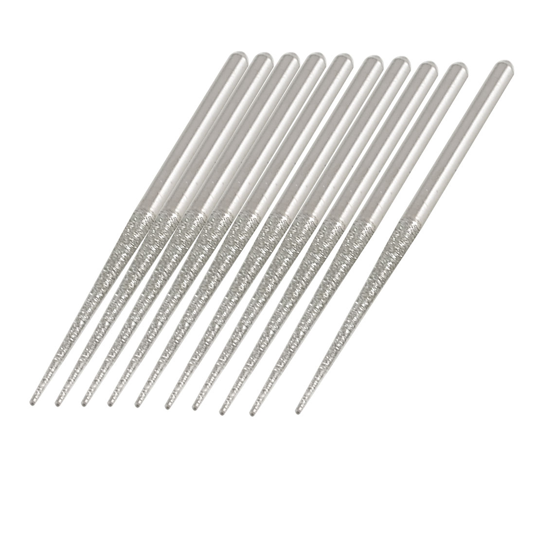 10Pcs 3mm Dia Shank Diamond Coated Tip Abrading Buffing Needle Files 70mm Long