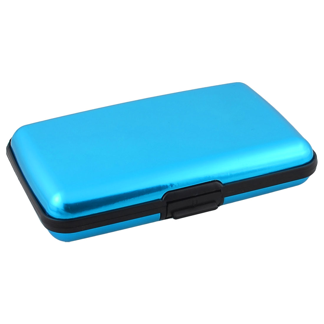 Cyan Blue 6 Compartments Alloy ID Credit Bank Cards Holder Case Box Organizer