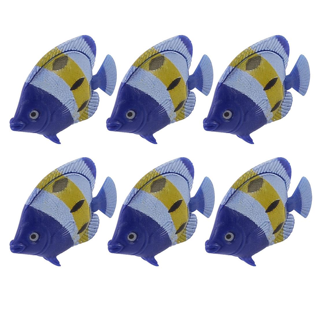 Blue Yellow Plastic Simulated Floating Fish Ornament 6 Pcs for Aquarium Tank