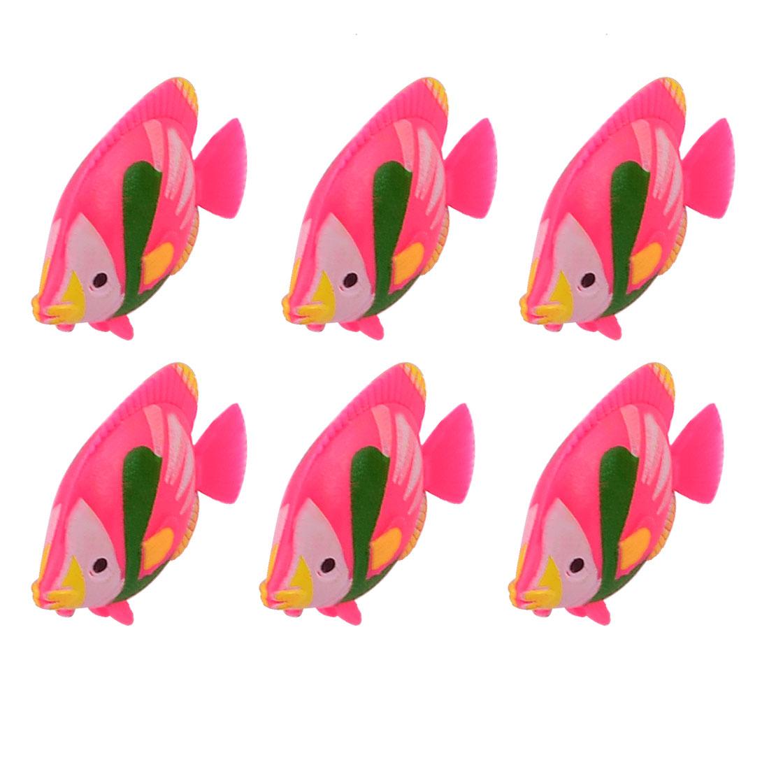 Tank Aquarium Decor Simulated Plastic Vivid Fish Ornament Hot Pink Green 6 Pcs