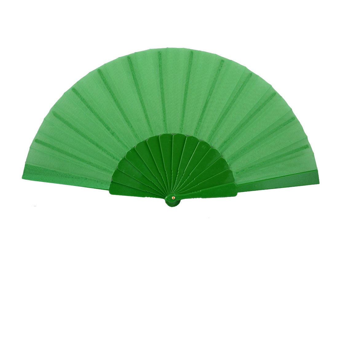 "Men Women Plastic Frame 16.5"" Width Fabric Foldable Hand Fan Gift Green"