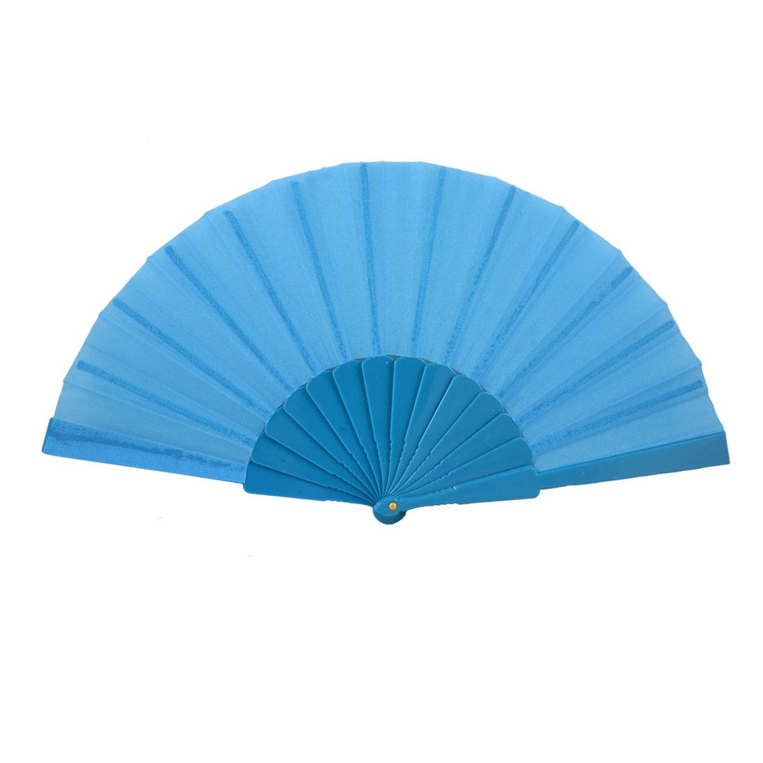 "Plastic Frame 16.5"" Width Fabric Foldable Hand Fan Gift Cyan Blue"