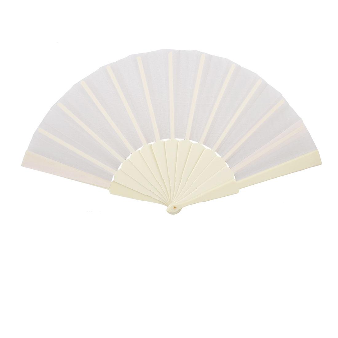 """Off White Plastic Frame Fabric 9"""" Long Folding Hand Fan Gift for Men Women"""