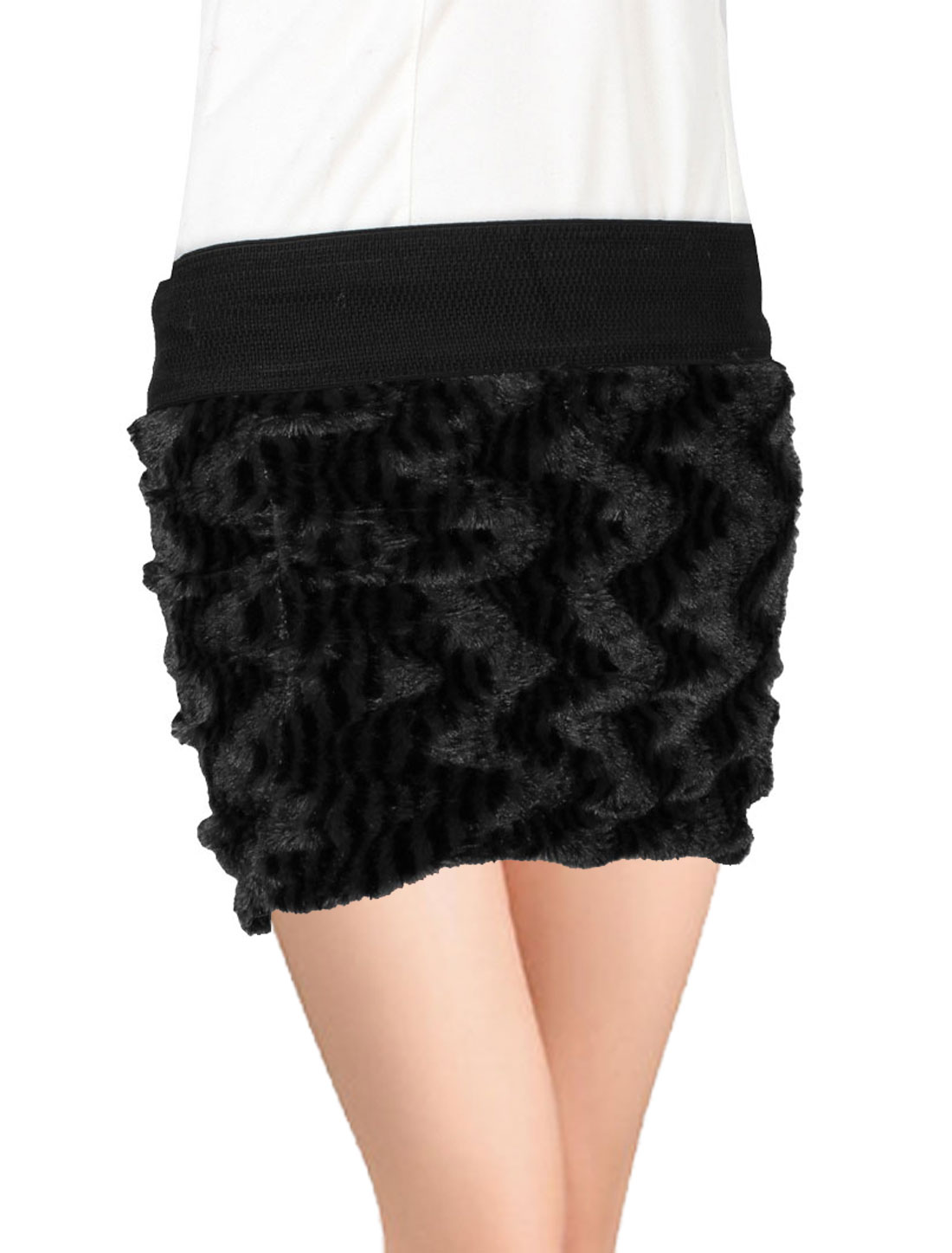 Ladies Black Elastic Waist Casual Autumn Mini Skirt XS