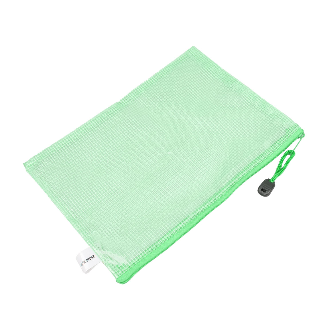 "9.8"" x 7.3"" Clear Green Nylon Keychain Zipper PVC Stationery File Bag"