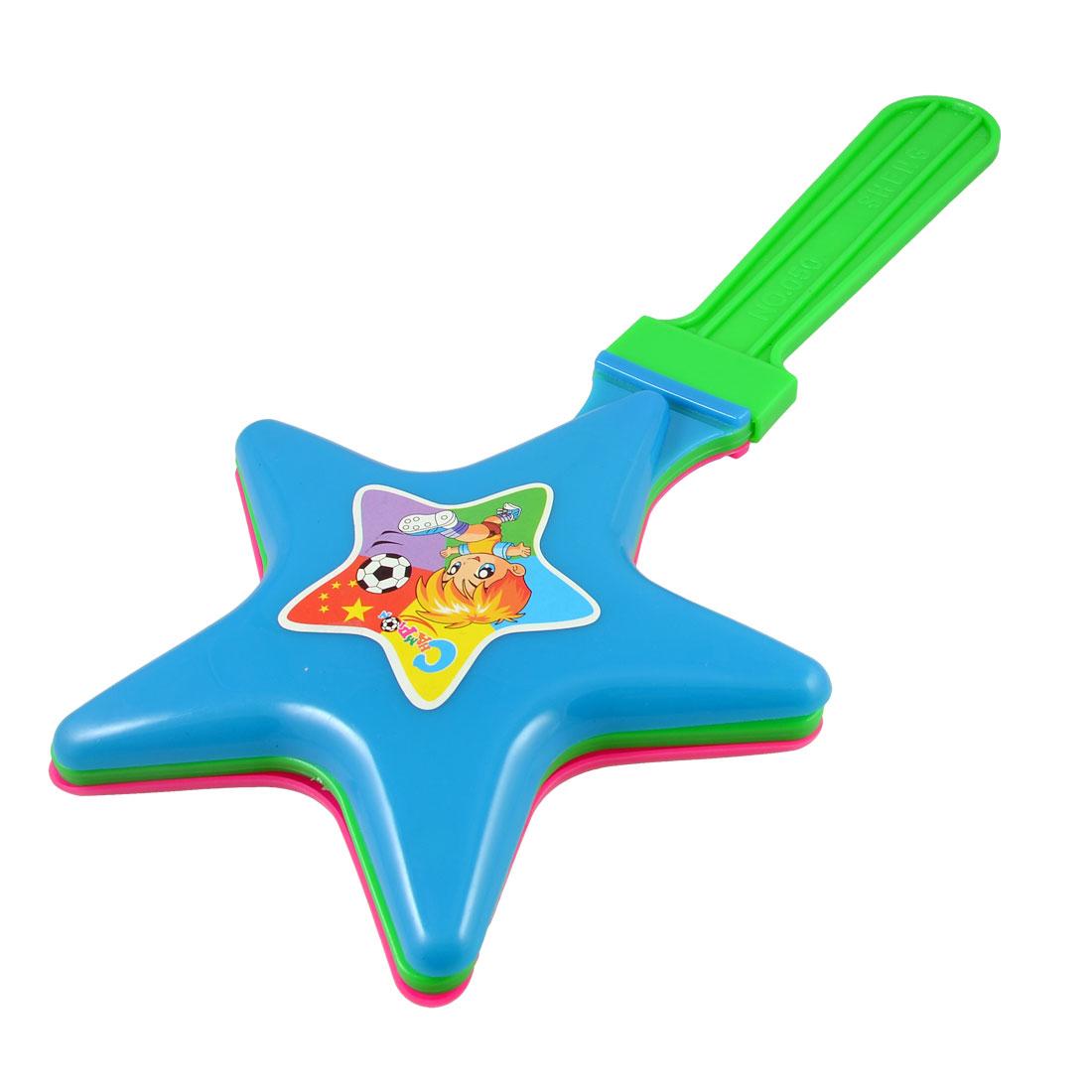 """Green Fuchsia Plastic Star Pentagram Hand Clapper Noise Maker 13.3"""" Long"""