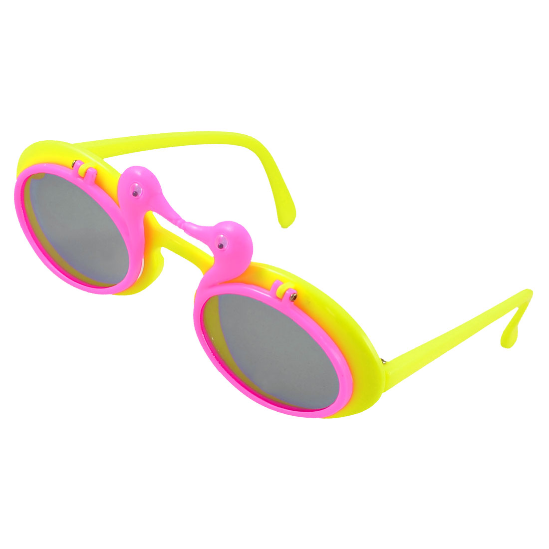Kids Dual Ducks Flip up Plastic Full Rim Frame Sunglasses Hot Pink Yellow