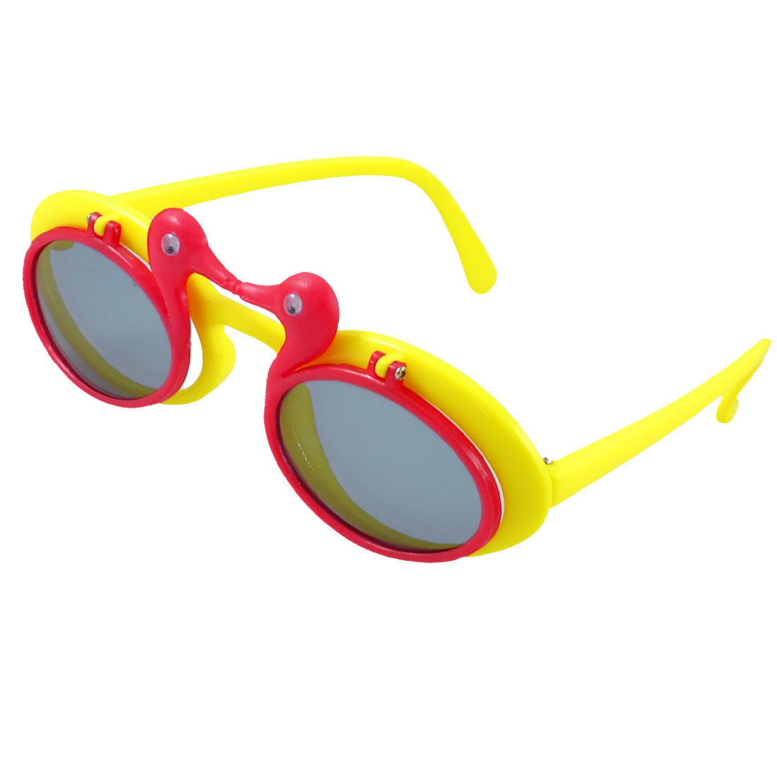 Children Plastic Red Yellow Single Bridge 2 Layers Colored Lens Sunglasses