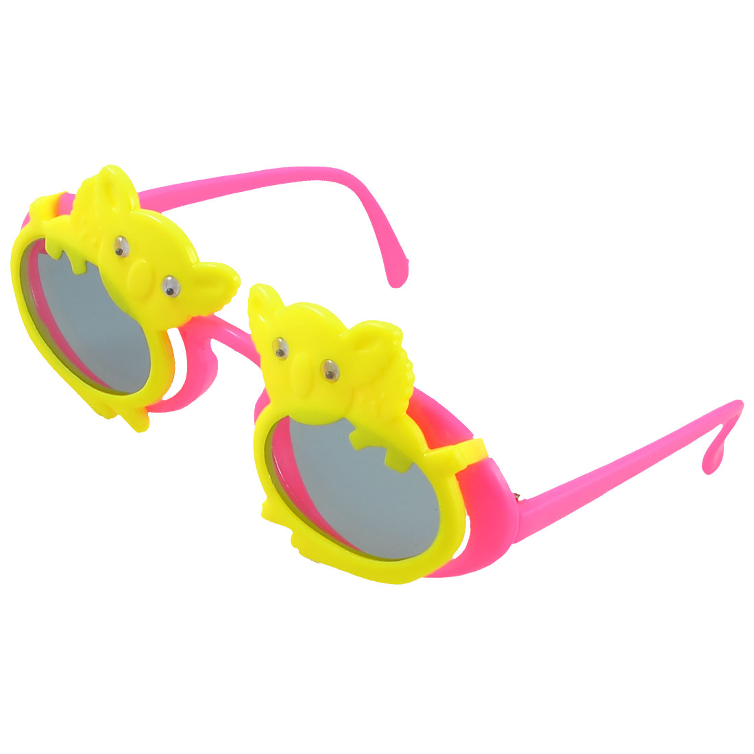 Children Oval Lens Pigs Accent Plastic Flip up Sunglasses Hot Pink Yellow