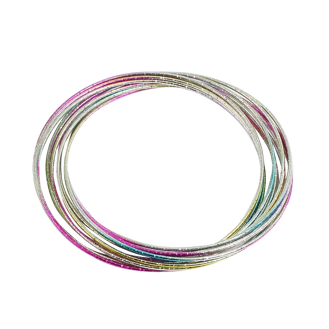 Glossy Colors Metal 12 Loops Circle Interlocking Bangle Bracelet for Ladies