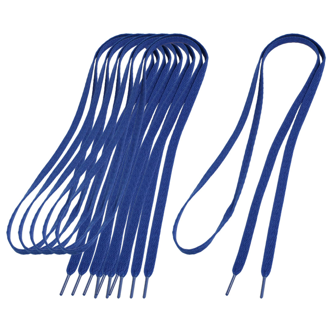 "3 Pair Plastic Wrapped Ends Blue Flat Cord Shoelace 44"" for Trainers"