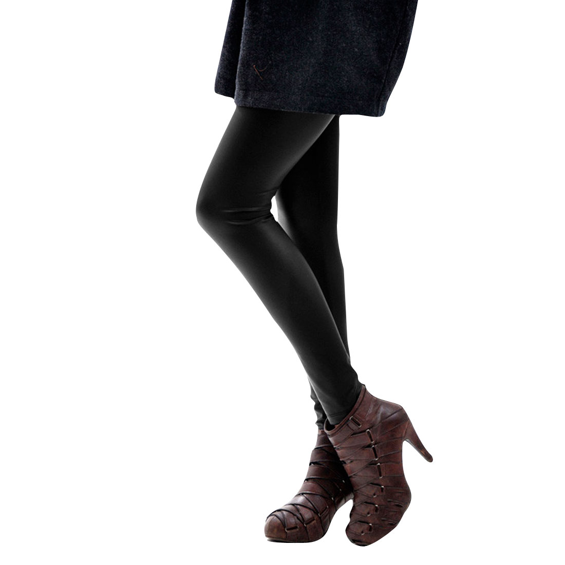 Ladies Black Elastic Waist Fleece Inner Faux Leather Leggings XS