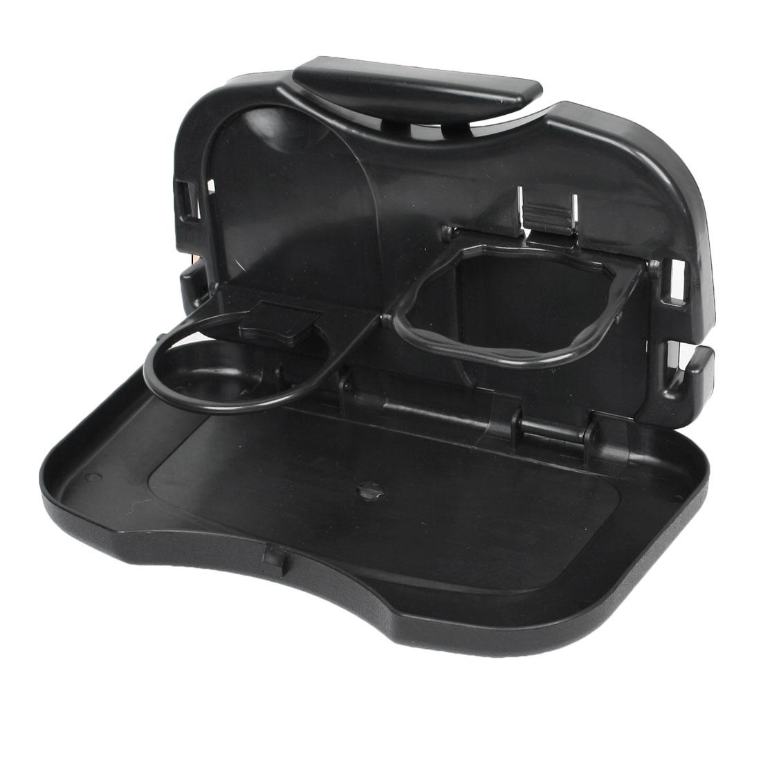 Car Backseat Folding Tray Snack Dinner Table Desk Drink Cup Holder Black