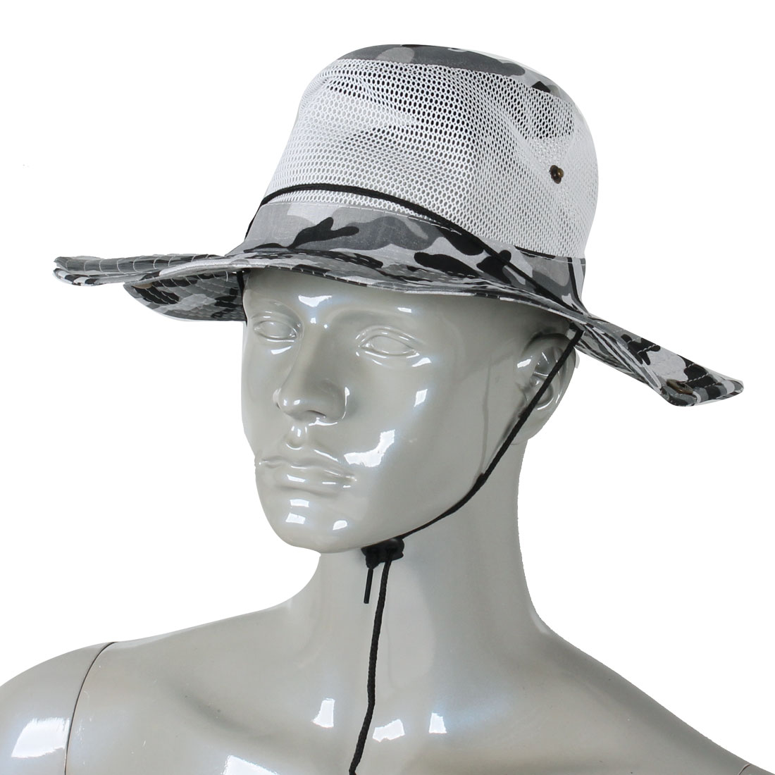 Men Full Brim Gray Black Camouflage Print Mesh Design Fishing Hiking Hat Cap