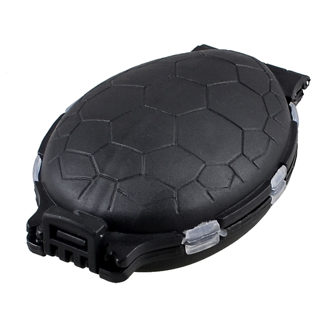 Black Plastic 12 Compartments Dual Side Tortoise Design Fishing Hook Box Holder