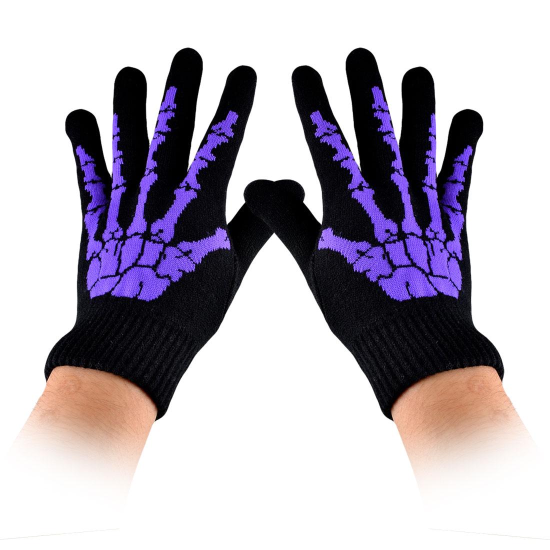 Purple Hand Bone Printed Black Full Finger Winter Knitting Gloves for Men Women