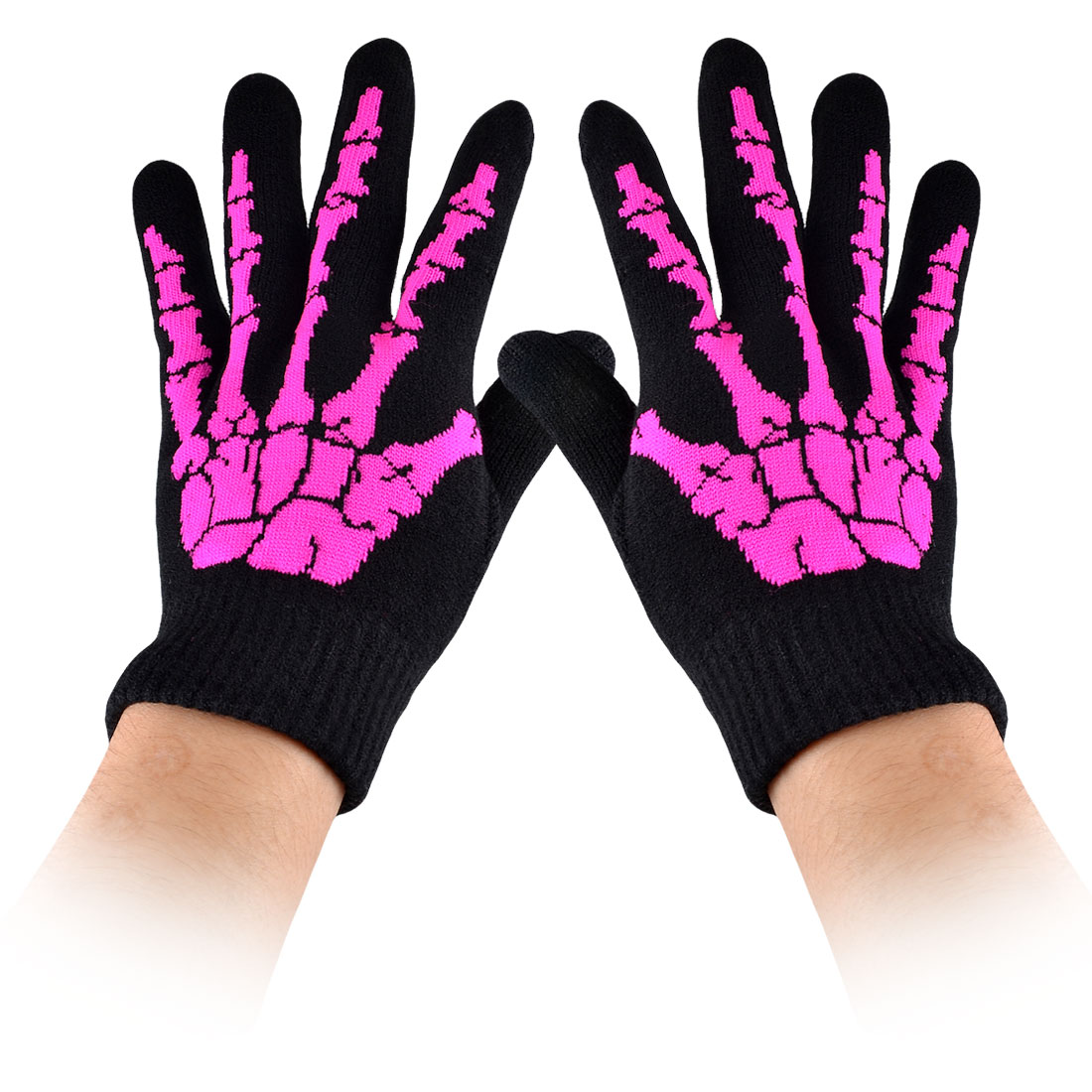 Men Women Winter Fuchsia Hand Bone Print Black Knitted Full Finger Warm Gloves