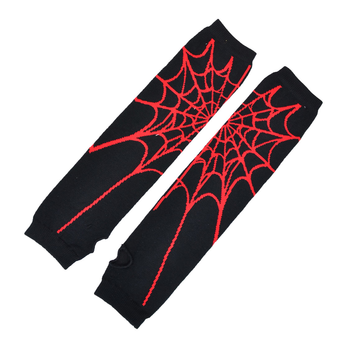 Women Fingerless Knitted Black Red Cobweb Printed Long Gloves Arm Warmers Pair